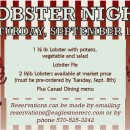 Lobster Night September 12th. Make your reservations TODAY!