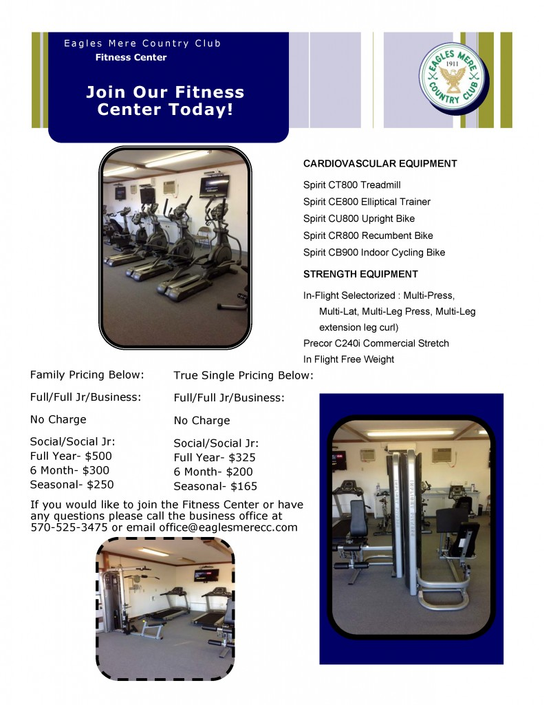 2016 Fitness Center Flyer with equipment listed
